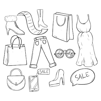 Einkaufs- und verkaufszeit mit damenbekleidung und accessoires