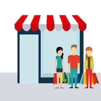 Einkaufsdesign der Leute, Grafik der Vektorillustration eps10