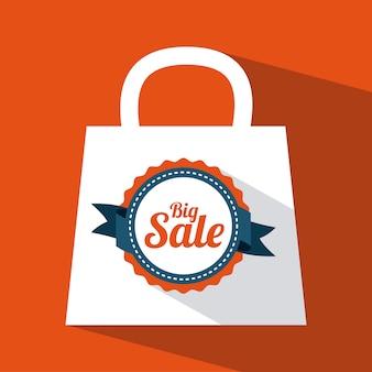 Einkaufsdesign über orange hintergrundvektorillustration