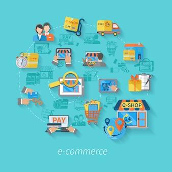 Einkaufse-commerce-konzept mit online durchgehender flacher vektorillustration der verkaufsservice-ikonen