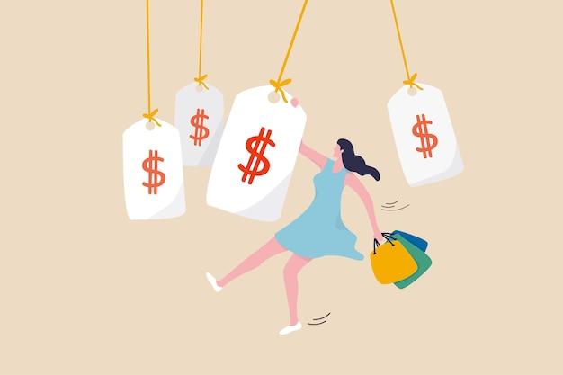 Einkaufsförderung, konsum, glück beim kauf von sachen, kleidung oder mode für damenkonzept