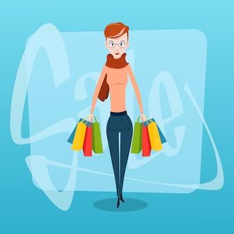 Einkaufsfrau mit taschen-verkauf