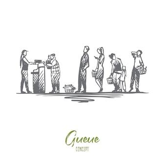 Einkaufsillustration in der hand gezeichnet