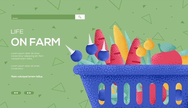 Einkaufskorb, leben auf der farm web-vorlage. Premium Vektoren