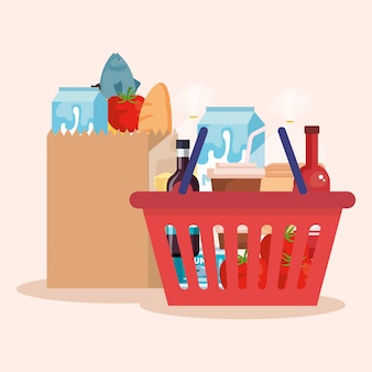 Einkaufskorb und tasche mit produkten