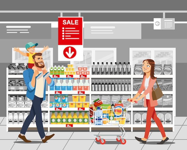 Einkaufslebensmittel im verkauf karikatur-vektor-konzept