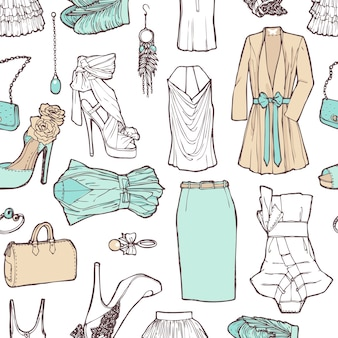 Einkaufsliste in Bildern. Muster der Damenbekleidung im romantischen Stil für Arbeit und Erholung. Modisches Muster.