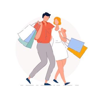Einkaufspaar. shopaholic mann und frau menschen paaren comicfiguren, die sich umarmen, zusammen gehen und einkaufstaschen tragen. einzelhandelsgeschäft verkaufs- und beziehungskonzept