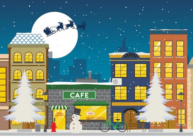 Einkaufsstraße im winter und weihnachten