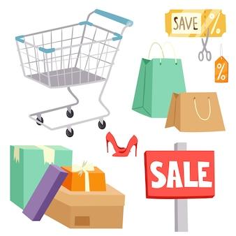 Einkaufssupermarktkarikaturikonen eingestellt