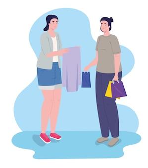Einkaufstag mit zwei mädchen