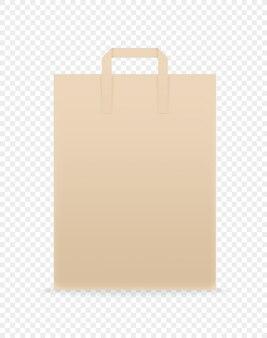 Einkaufstasche aus braunem papier. vorlage für das branding