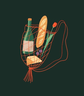 Einkaufstasche aus natürlicher baumwolle mit lebensmittelvektorillustration string-einkaufstasche mit ladenprodukten