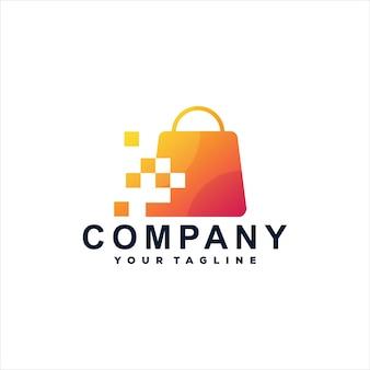 Einkaufstasche farbverlauf logo design