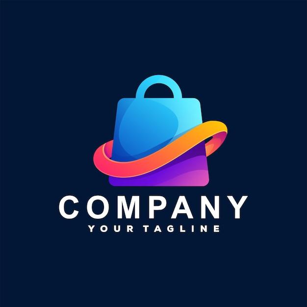 Einkaufstasche farbverlauf logo vorlage