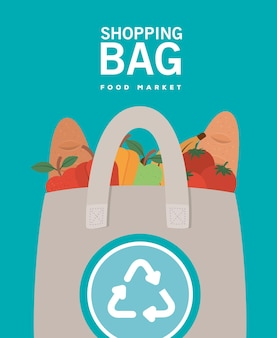 Einkaufstasche lebensmittelmarkt und ecobag voller marktprodukte