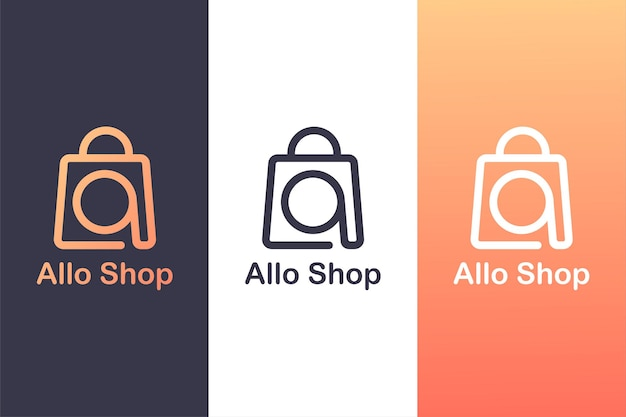 Einkaufstasche mit buchstabe a, online-shop-logo-vorlage. logo.