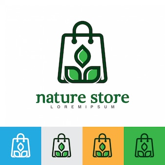 Einkaufstasche mit grüner blattlogoillustration.
