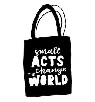 Einkaufstasche mit handgezeichneter beschriftung. plastic free future und set von produkttaschen zum einkaufen, aufbewahren. flache vektorillustration für öko-geschäft, bio-lebensmittelgeschäft, lokales marktbanner, vegane seite
