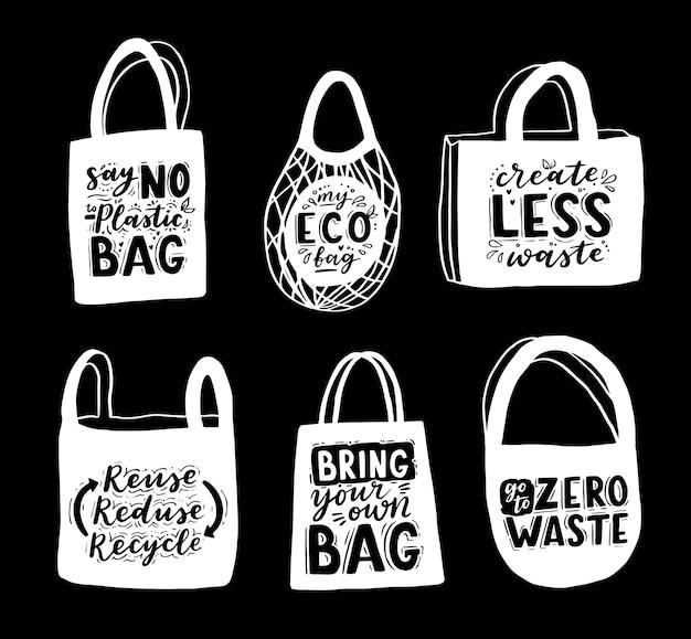 Einkaufstasche mit handgezeichneter beschriftung