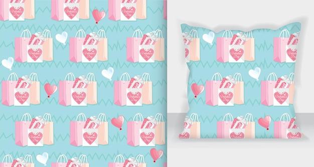 Einkaufstasche und geschenkboxmuster für valentinstagskartendesign.