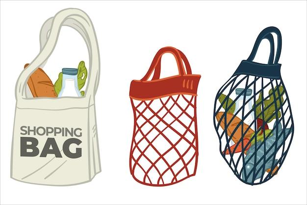Einkaufstaschen aus canvas-textilgewebe, mesh oder bindfaden. sorge um die umwelt, schutz des planeten. umweltfreundliche verpackung für den kauf von lebensmittelprodukten im geschäft. vektor im flachen stil