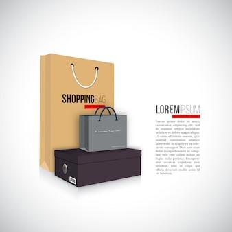Einkaufstaschen box isoliert