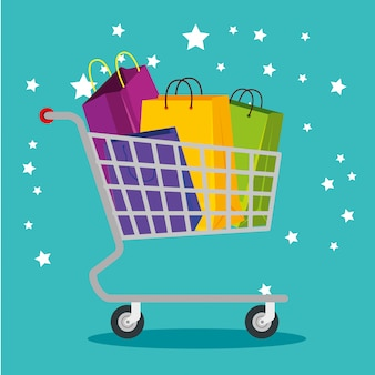 Einkaufstaschen im warenkorb zum sonderverkauf