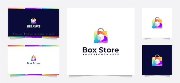 Einkaufstaschen-logo-farbverlauf mit würfelbox und visitenkarte,