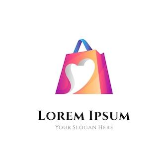 Einkaufstaschen-logo-kombination mit herz- oder liebesform