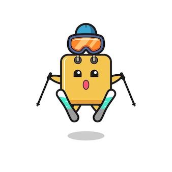 Einkaufstaschen-maskottchen-charakter als skispieler, süßes design für t-shirt, aufkleber, logo-element
