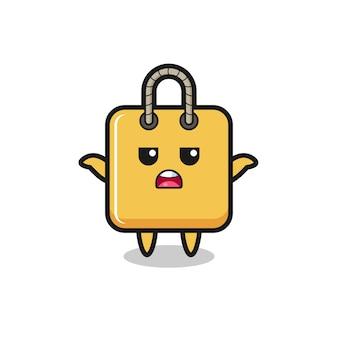Einkaufstaschen-maskottchen-charakter, der sagt, ich weiß es nicht, süßes stildesign für t-shirt, aufkleber, logo-element