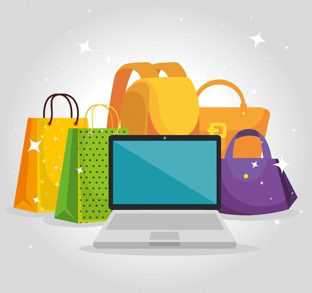 Einkaufstaschen mit laptop- und hanbag-verkauf