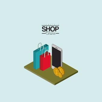 Einkaufstaschen smartphone und münzen