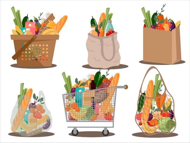 Einkaufstaschen und körbe flache illustrationen gesetzt