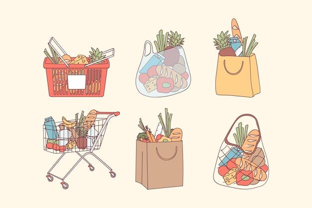 Einkaufstaschen und lebensmitteleinkaufskonzept. volle taschen und körbe mit naturkost, bio-obst und gemüse