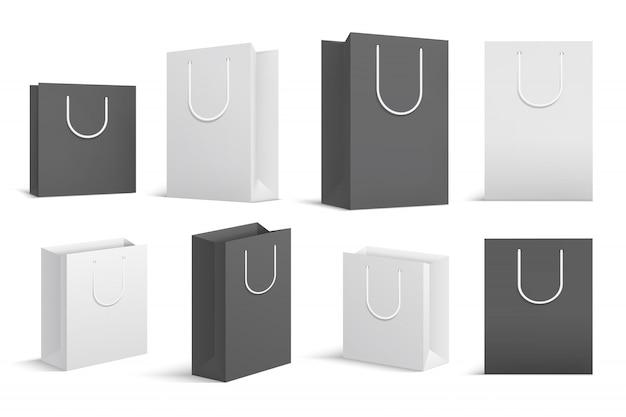Einkaufstüten aus papier. schwarzes weißes leeres papppaket. schließen sie oben einkaufstasche modelle