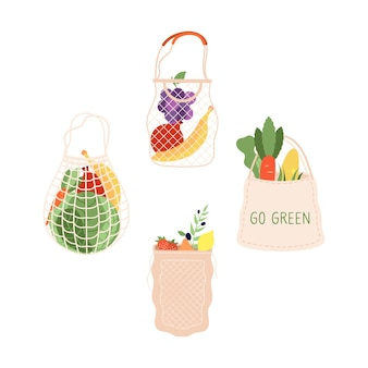Einkaufstüten. einkaufstüte, bio-supermarkt-shop-verpackung. frisches obst gemüse marktpackungen, vegetarische kohlbananentraubenvektorillustration. kohl und obst, zwiebelpfeffer im beutel