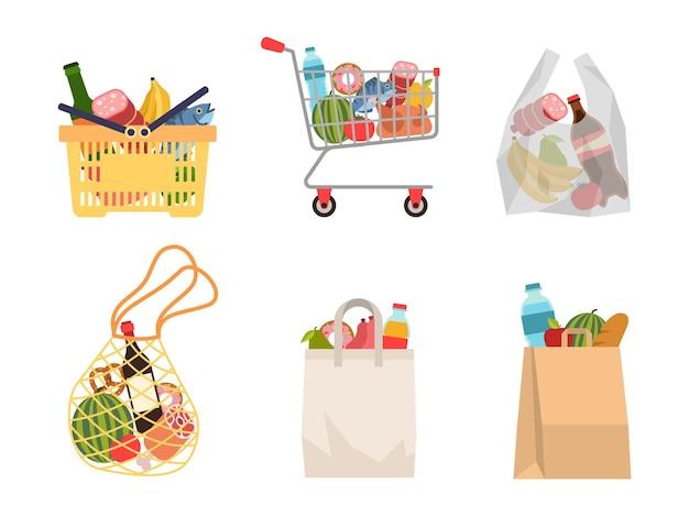 Einkaufstüten mit lebensmitteln. lebensmitteleinkäufe, papierverpackungen, plastik- oder ökobeutel, voller trolley und korb mit produkten. kauf von bio-lebensmitteln flachen vektor-cartoon-set