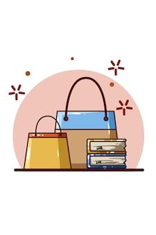 Einkaufstüten und bücher-cartoon-illustration
