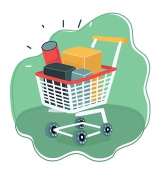Einkaufswagen auf rädern mit produkten