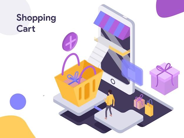 Einkaufswagen-isometrische illustration