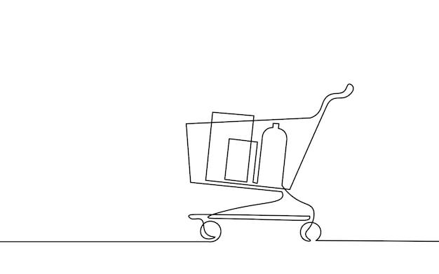 Einkaufswagen mit einer durchgehenden linie. systemstrategiekonzept testen. online-shop-handelsmarkt. jetzt bannervorlage kaufen. entwerfen sie eine strichskizze umrisszeichnung vektor-illustration.