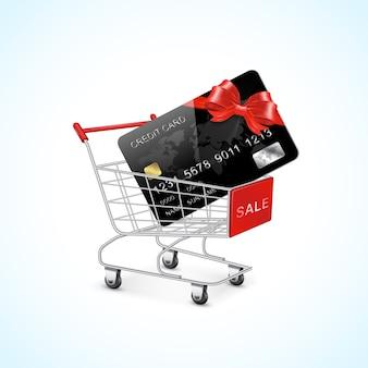 Einkaufswagen mit kreditkarte und bogen und zahlung e-commerce-geschäft weltweit