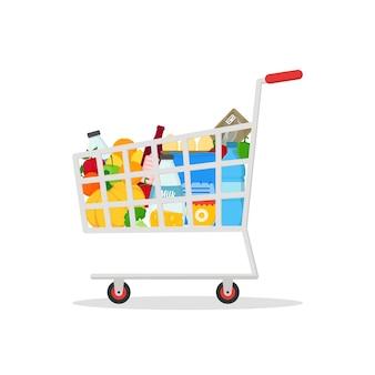 Einkaufswagen mit produkten getränke und lebensmittel für unternehmen und werbegeschäft
