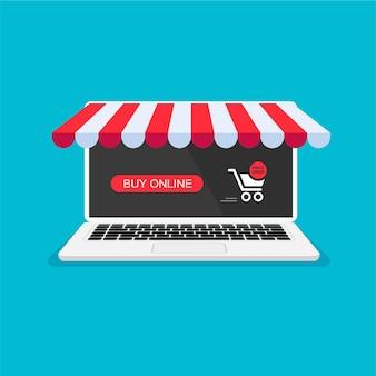 Einkaufswagen mit roter taste online-bestellbenachrichtigung auf laptop-bildschirm home-shopping