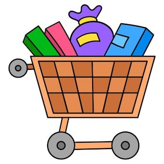 Einkaufswagen mit waren. cartoon-emoticon. gekritzelsymbolzeichnung, vektorillustration
