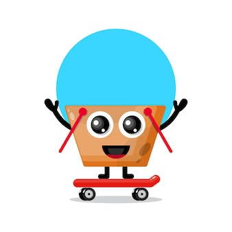 Einkaufswagen-skateboard niedliches charaktermaskottchen