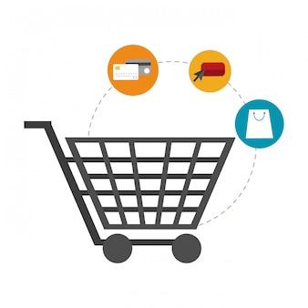 Einkaufswagen und e-commerce-symbole