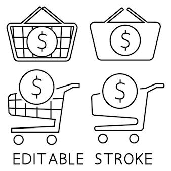 Einkaufswagen und einkaufskorb mit dollarzeichen nach innen. die bestellung ist abgeschlossen. eine bestellung aufgeben. online shop. komplett einkaufen, bezahlen. vektor isoliert auf weißem hintergrund